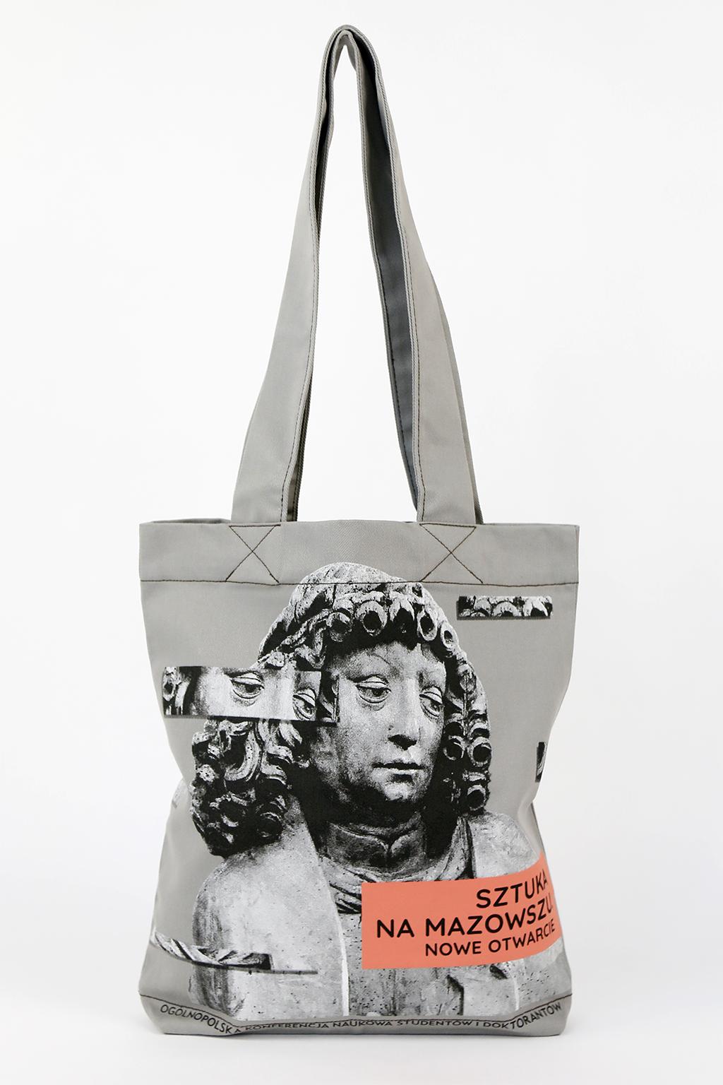 bawełniana torba na ramię, torba w kolorze szarym z nadrukiem reklamowym: sztuka na mazowszu, nowe otwarcie, dwukolorowy nadruk metodą sitodruku, torba reklamowa na zamówienie