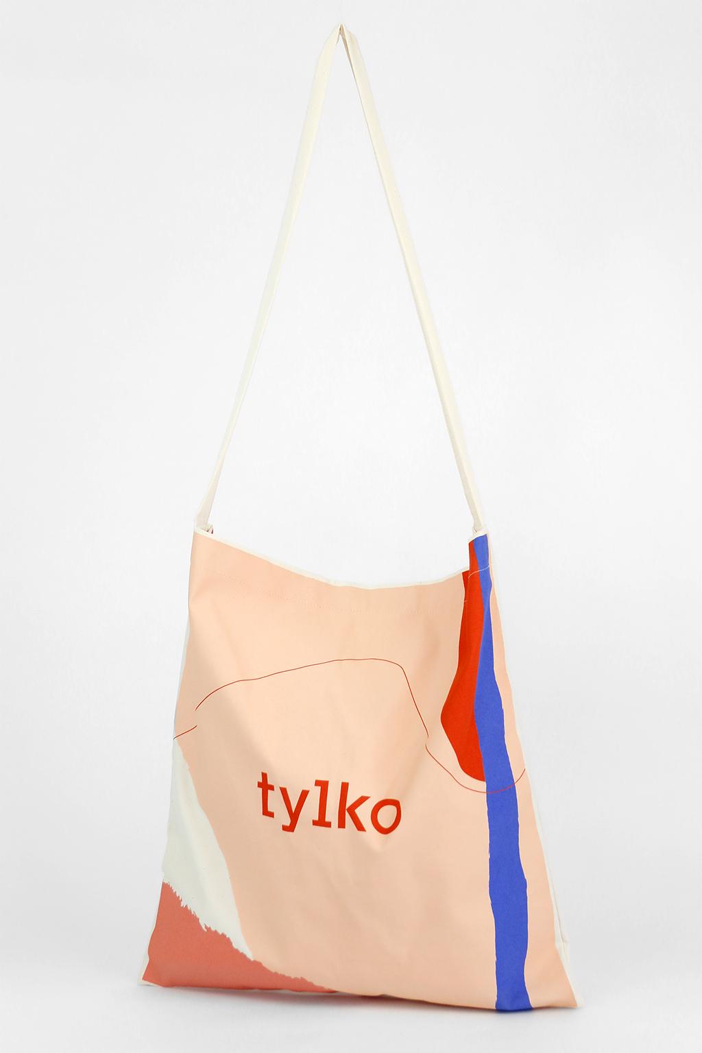 torba bawełniana z jednym uchem, torba reklamowa z nadrukiem, kolorowy nadruk: 'tylko'